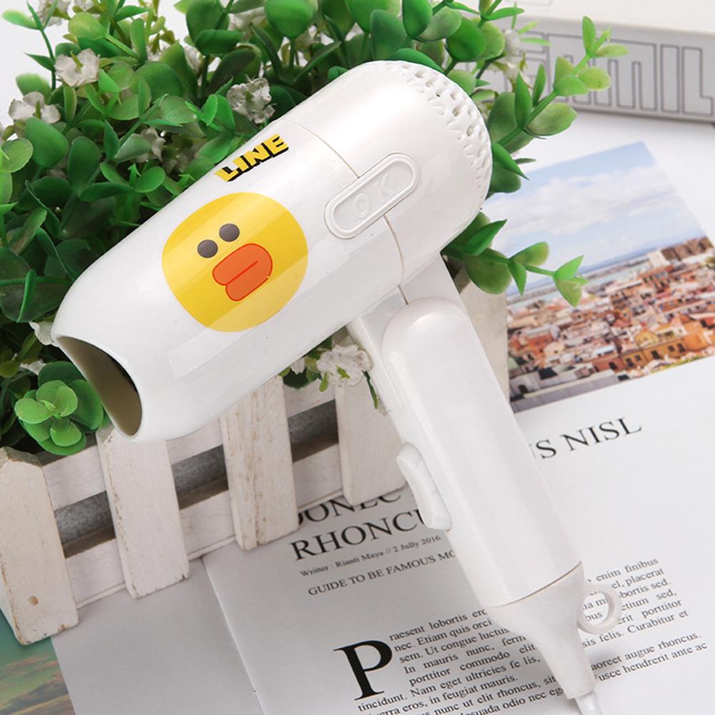 Mini Folding Cartoon Hair Dryer Small Power Portable Traveling Hair Dryer  White duckling