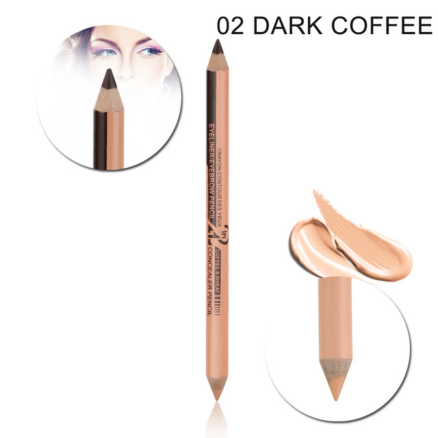 Double-headed  2-in-1 Eyeliner Eyebrow Pencil Concealer Pen Waterproof Eye Make Up 02 # coffee color + natural color_12 pcs