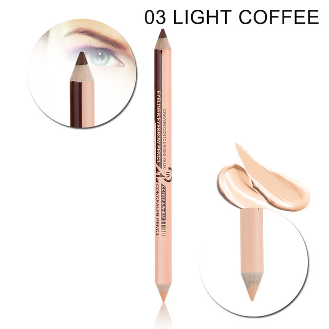 Double-headed  2-in-1 Eyeliner Eyebrow Pencil Concealer Pen Waterproof Eye Make Up 03 # Brown + Beige_12 pcs