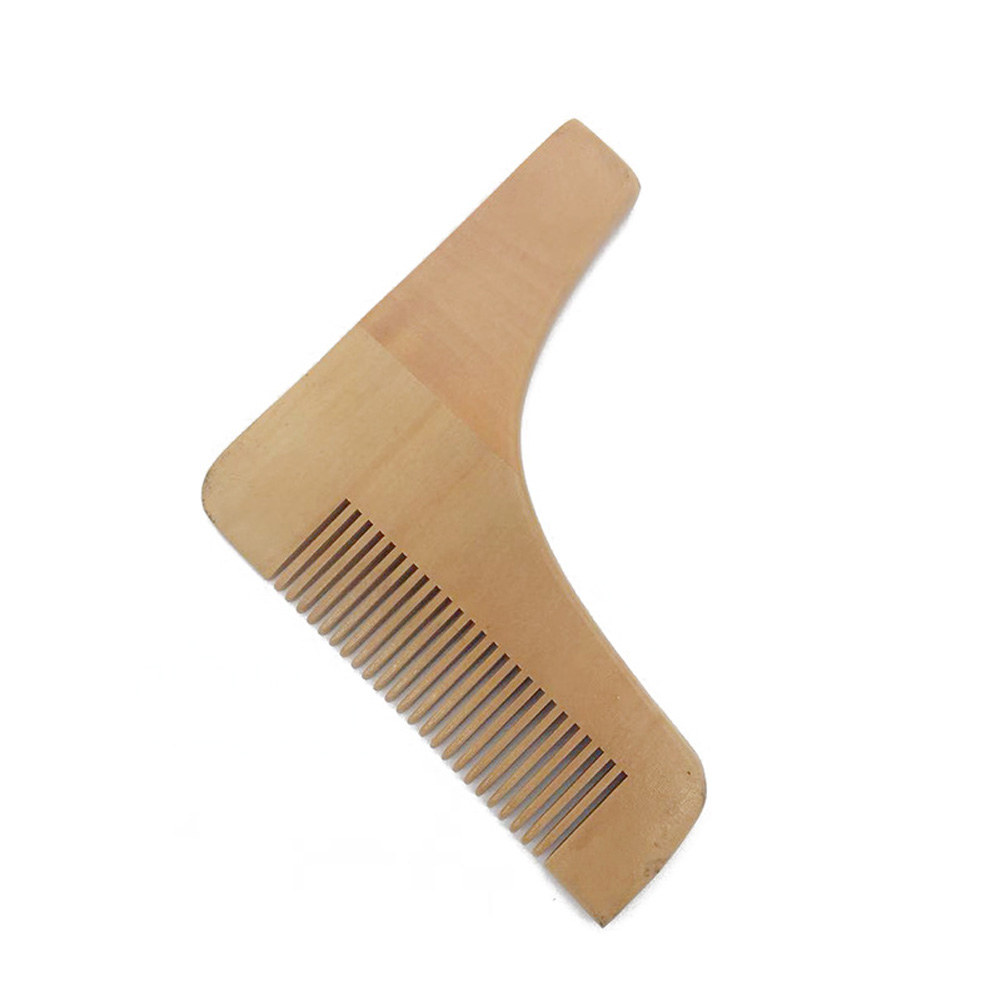 Men's Beard Comb Stainless Steel Right Angle Styling Template Wood Color Comb Wood color_11.5 * 11cm