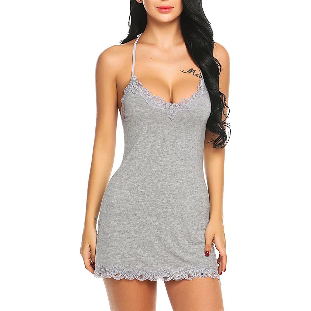 Slip Lingerie Sexy Chemise Nightgown Babydoll Soft Sleepwear gray_M