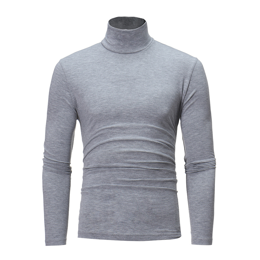 Men High Collar Pullovers Solid Color Long Sleeve High Collar All-matching Tops  light grey_XL