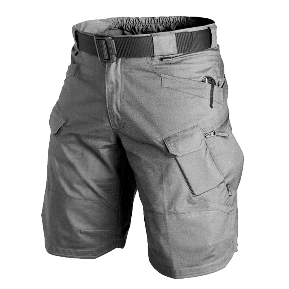 Men Summer Sports Pants Wear-resistant Overall Fifth Pants  gray_L