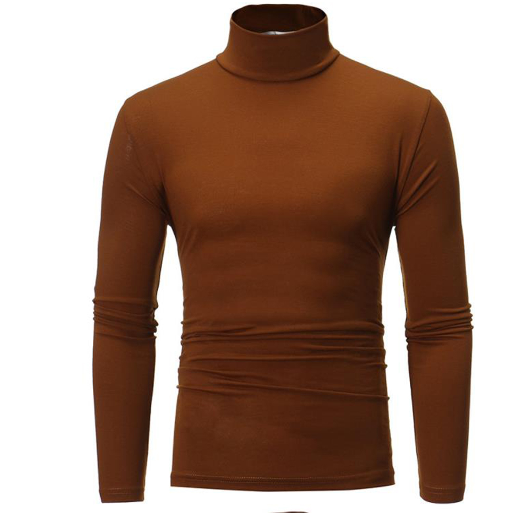 Men High Collar Pullovers Solid Color Long Sleeve High Collar All-matching Tops  coffee_XL