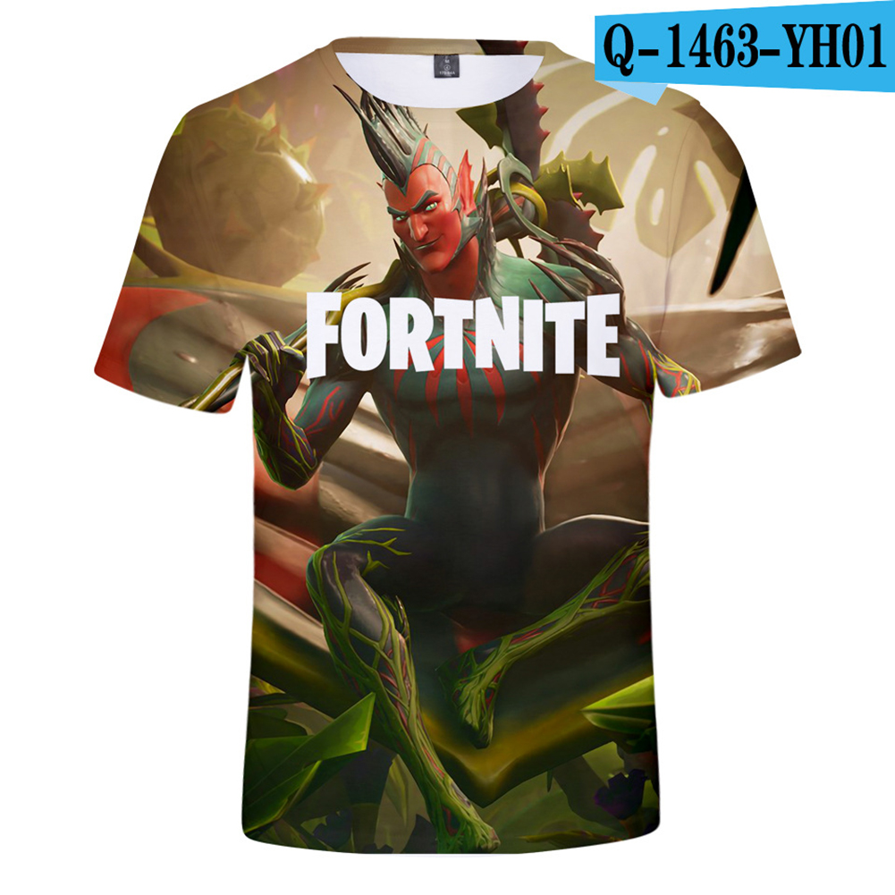 Casual 3D Cartoon Pattern Round Neck T-shirt Picture color AA_XS