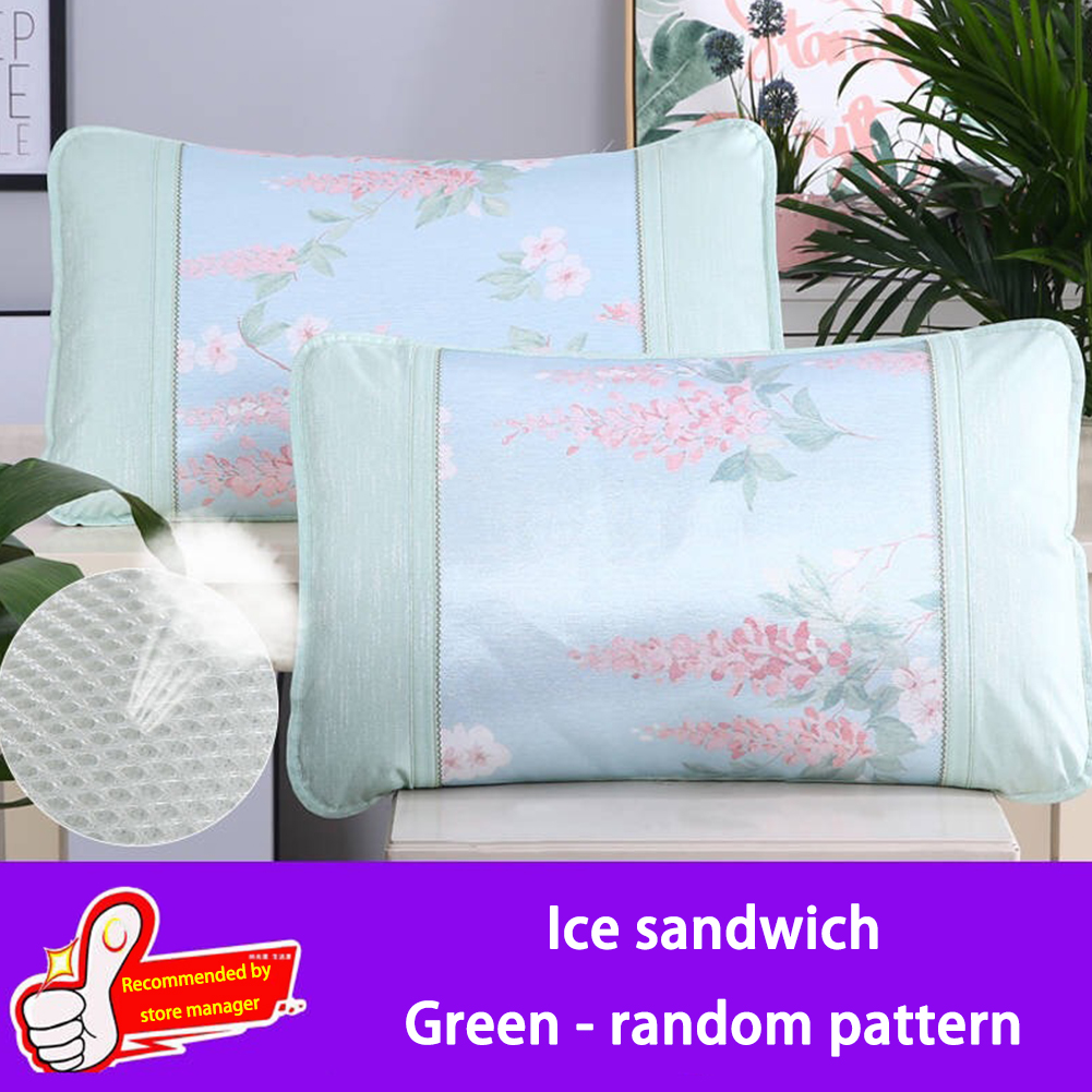 Ice Silk Pillowcase For Hair And Skin Printed Pillow Cases Bedding Cover For Living Room