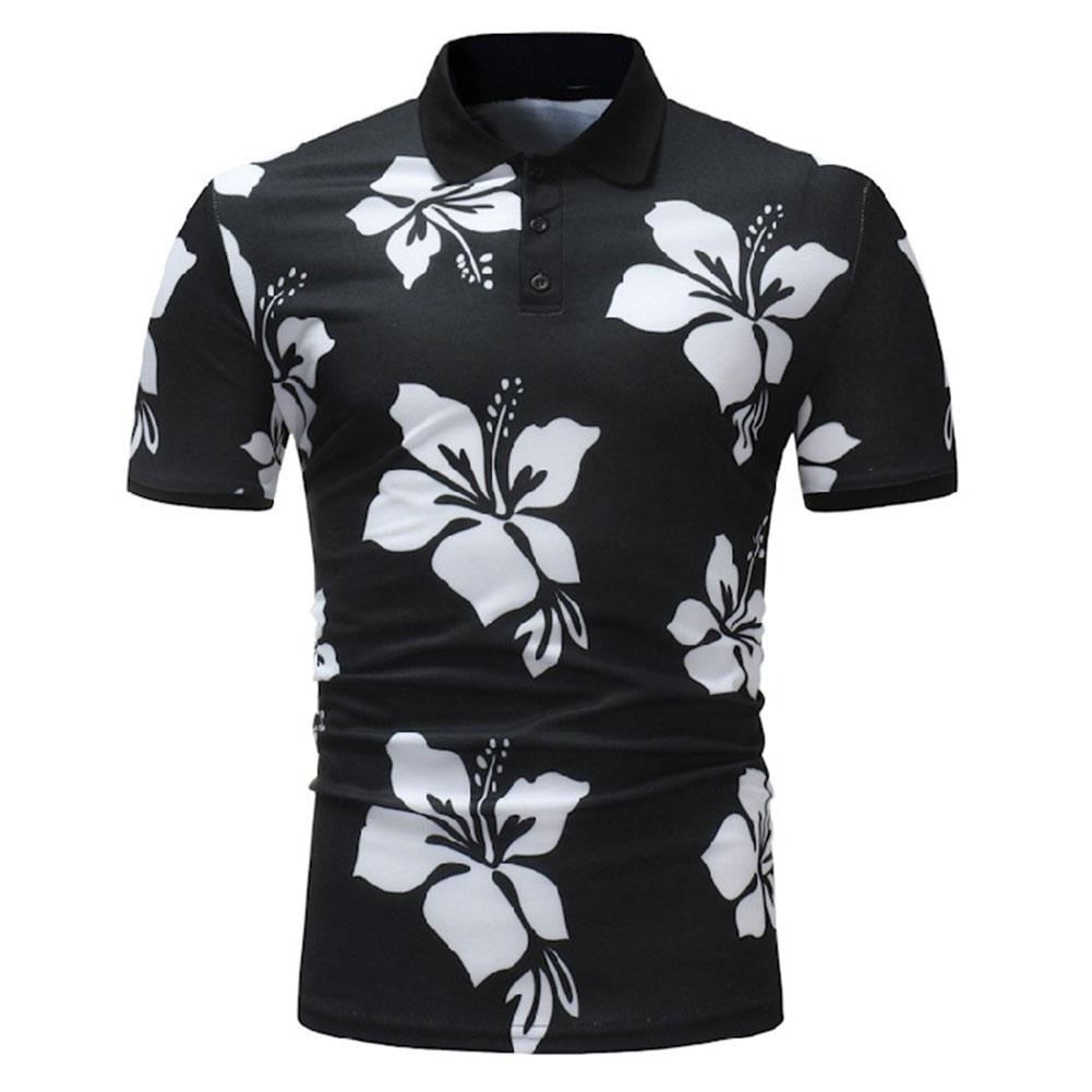 Men Fashion Printing Large Size Casual Lapel Short Sleeves Shirt Black and White_XL