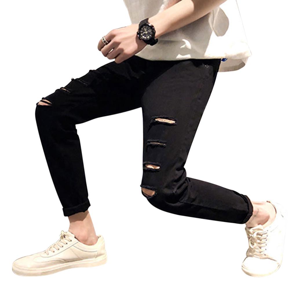 Men Fashion Black Ninth Pants Broken Hole Jeans C58 black_33#