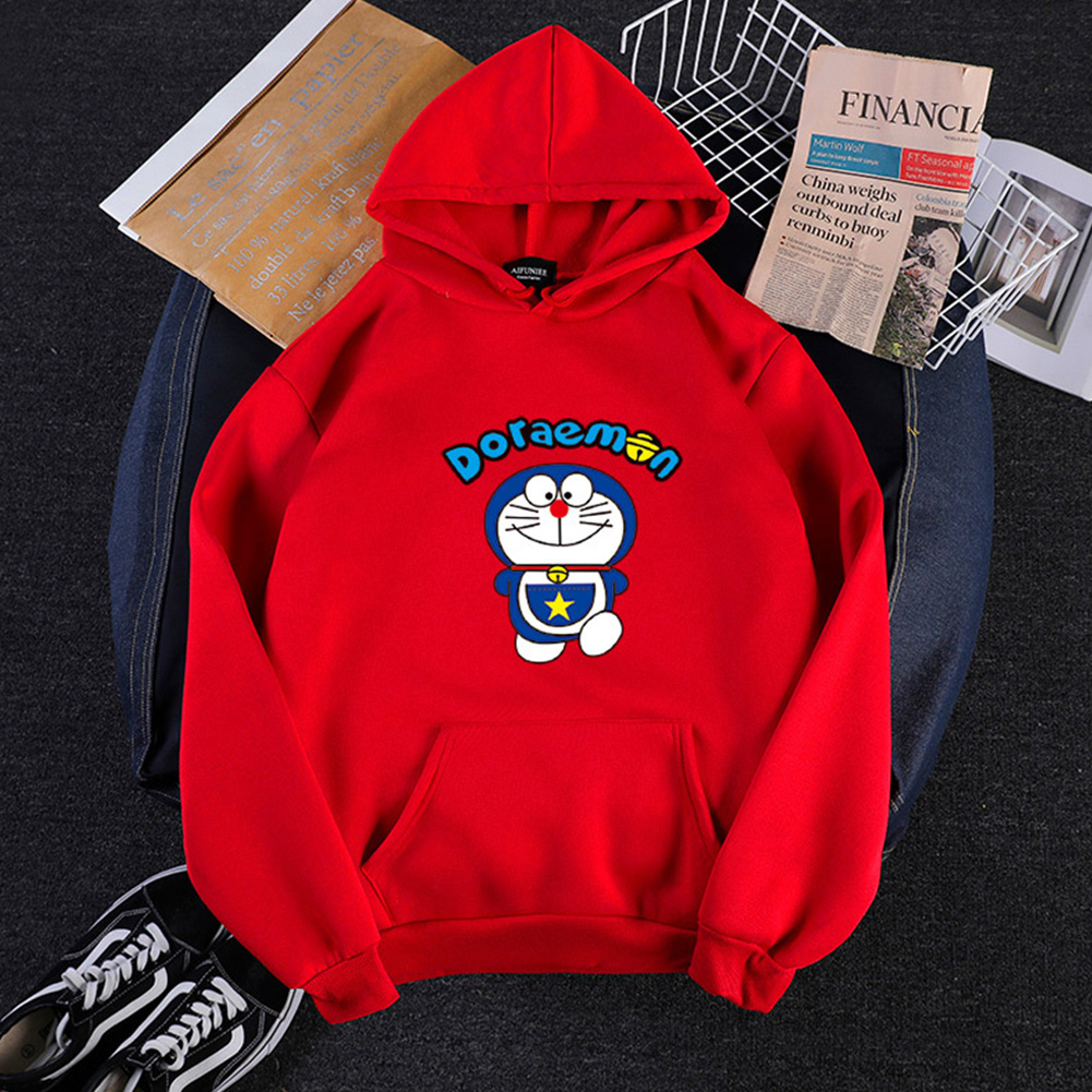Men Women Hoodie Sweatshirt Doraemon Cartoon Loose Thicken Autumn Winter Pullover Tops Red_XXL