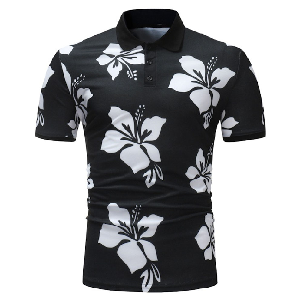 Men Fashion Printing Large Size Casual Lapel Short Sleeves Shirt Black and White_L