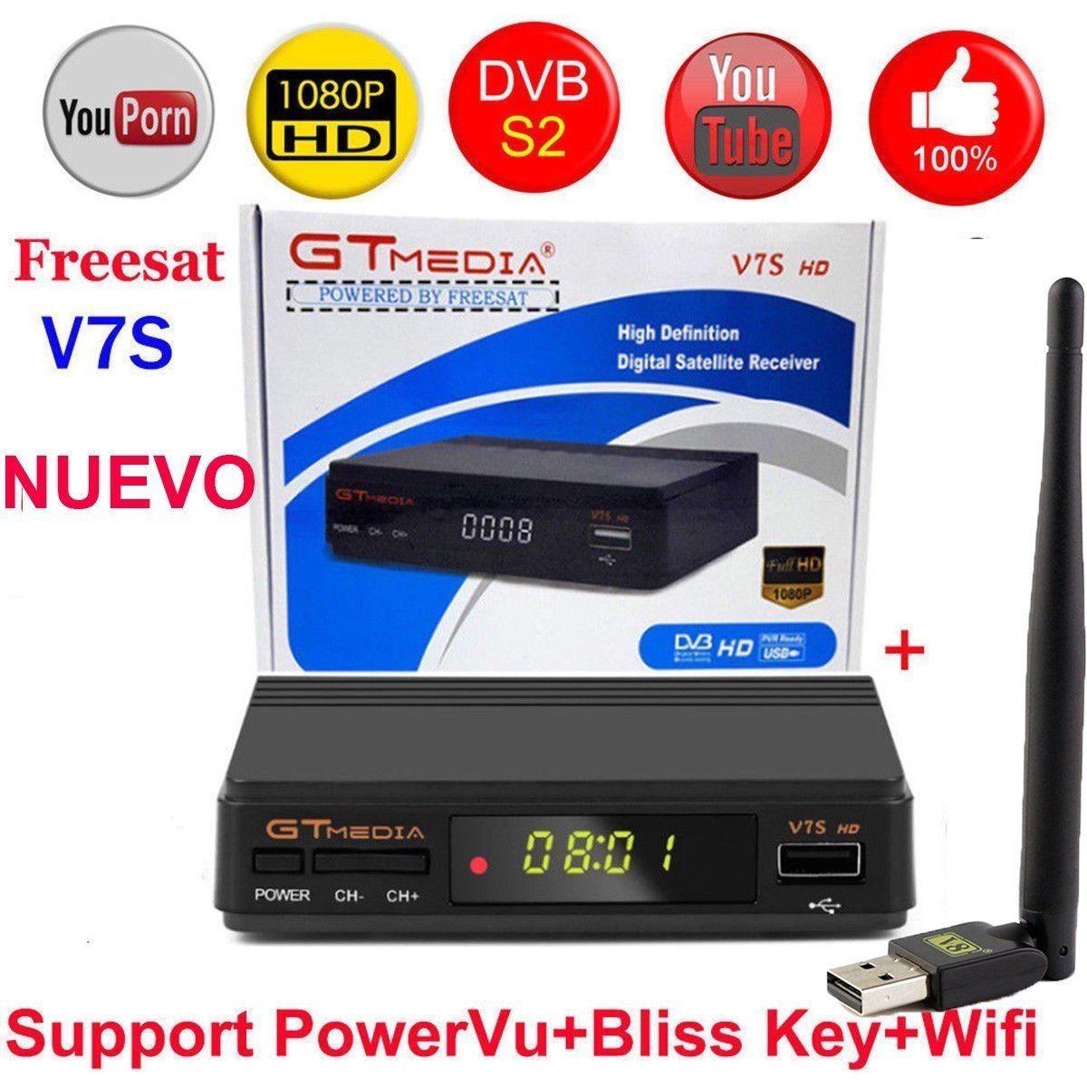 Freesat V7S HD FTA Digital Satellite TV Receiver DVB-S2/S Support BissKey 1080P US plug