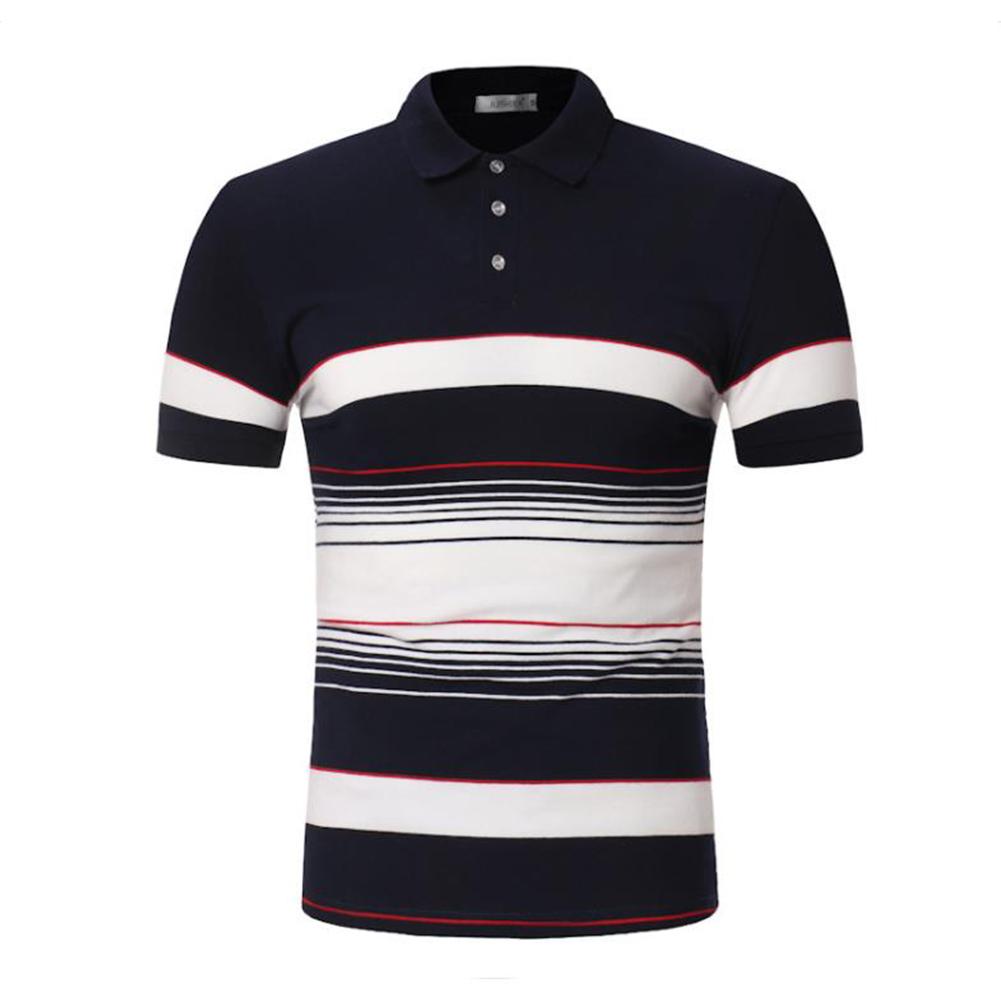 Men Stripes Shirts Slim Short Sleeve Fashion Thin Tops  Navy_L