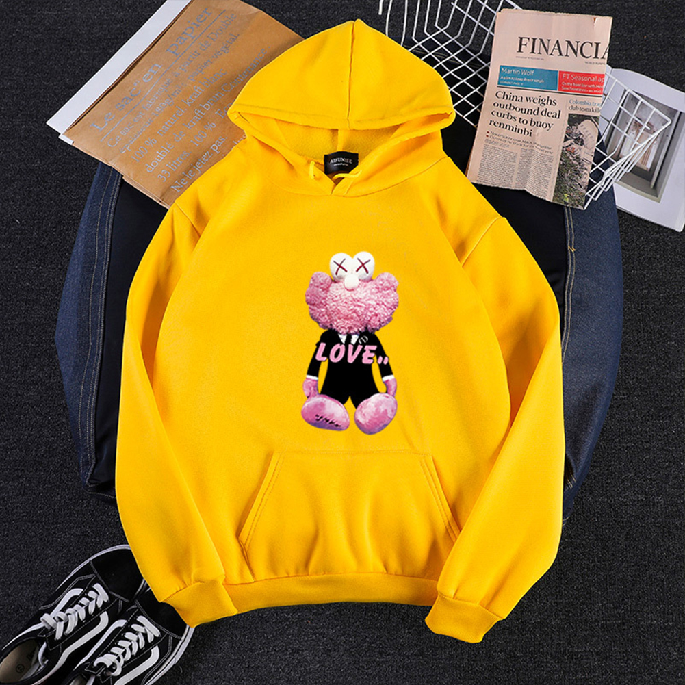 KAWS Men Women Hoodie Sweatshirt Cartoon Love Bear Thicken Autumn Winter Loose Pullover Yellow_XXXL