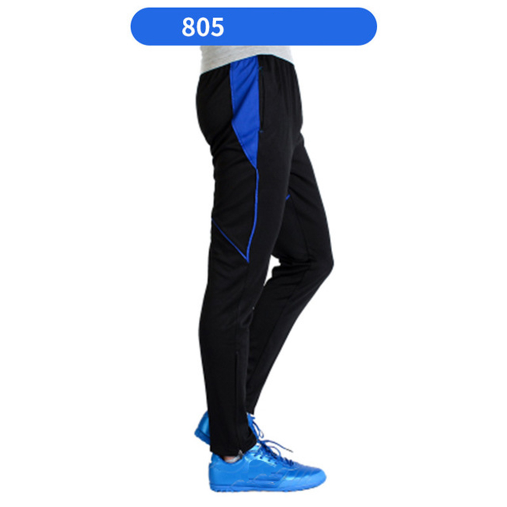 Men Athletic Training Pants Breathable Running Football Long Pants 805-blue_L