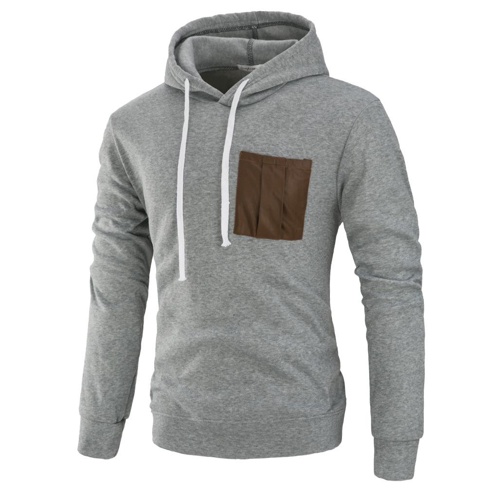 Men Fashion Long Sleeve Hooded Casual Pullover Sweatshirt Tops Light Gray_L
