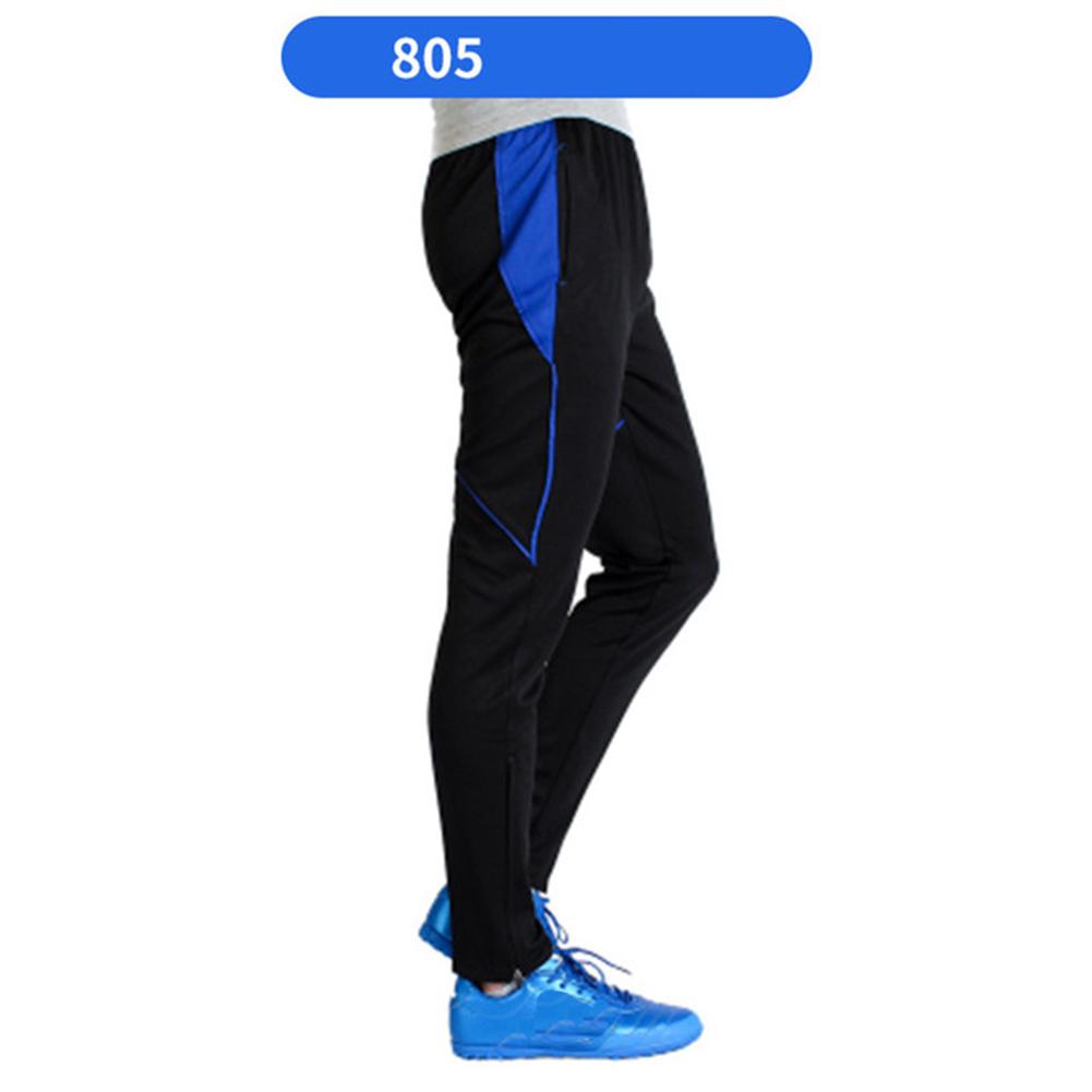 Men Athletic Training Pants Breathable Running Football Long Pants 805-blue_XXXL