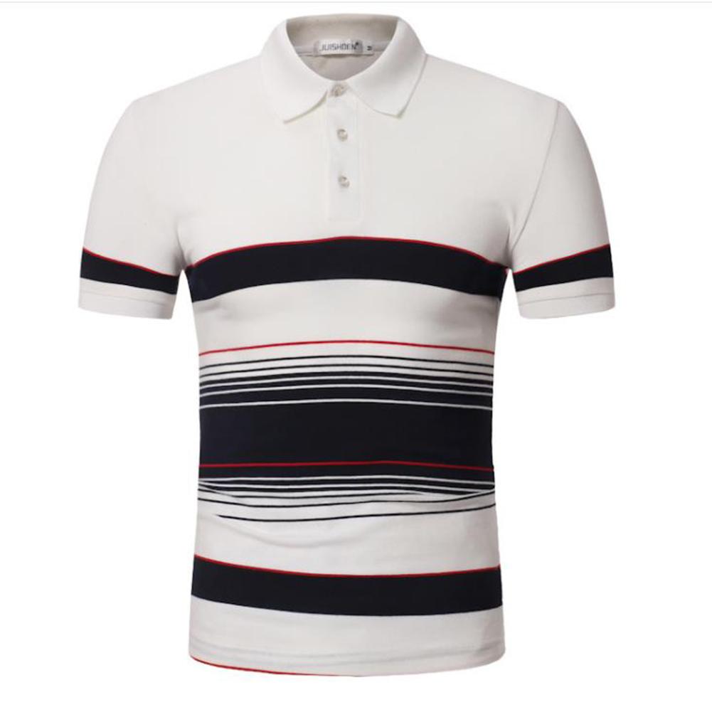 Men Stripes Shirts Slim Short Sleeve Fashion Thin Tops  white_XL
