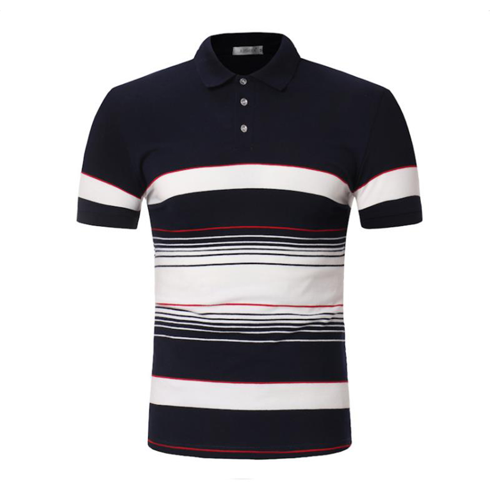 Men Stripes Shirts Slim Short Sleeve Fashion Thin Tops  Navy_M