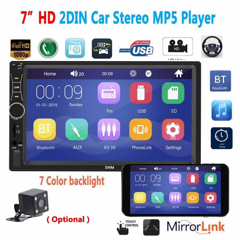 A7 2 Din 7 inch Car Radio Autoradio Universal Car Multimedia MP5 Player HD Bluetooth Usb Flash Drive Phone Interconnect MP3 Player Radio Without camera