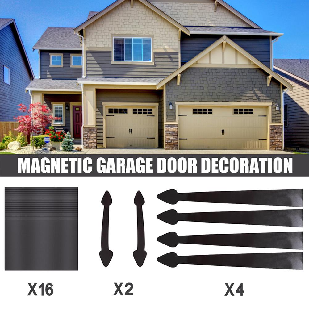22Pcs/Set Garage Door Magnetic Panels Decorative Black Window Decals black