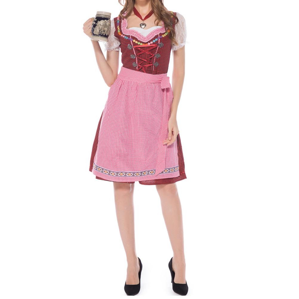 Female Maid Cosplay Plaid Dress Bavarian Style for Oktoberfest Beer Festival  red_M