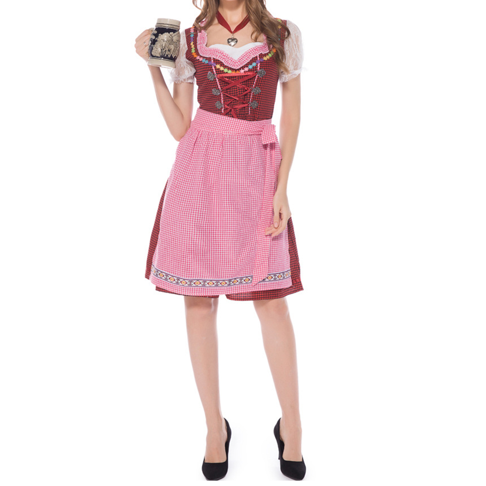 Female Maid Cosplay Plaid Dress Bavarian Style for Oktoberfest Beer Festival  red_S