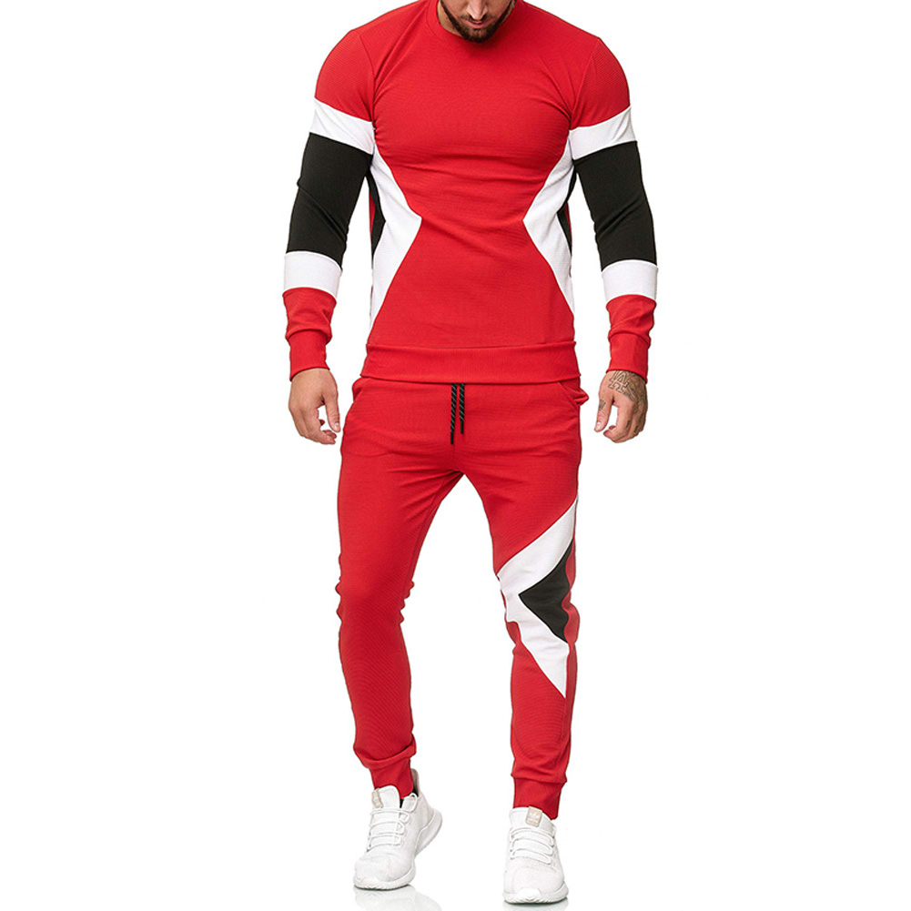 Autumn Contrast Color Sports Suits Slim Top+Drawstring Trouser for Man red_2XL