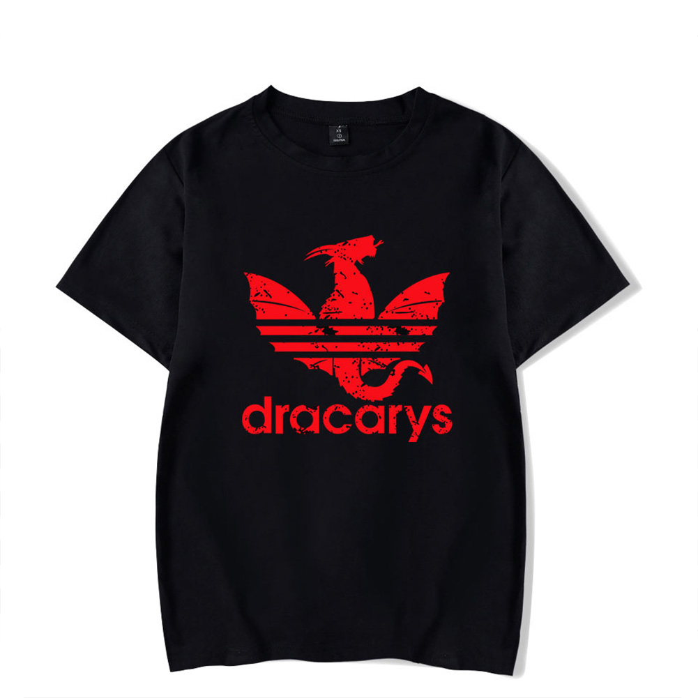 Men Women Casual All-match Dracarys Game Of Thrones Mother of Dragon Summer Short Sleeve T Shirts Black F_XXXL