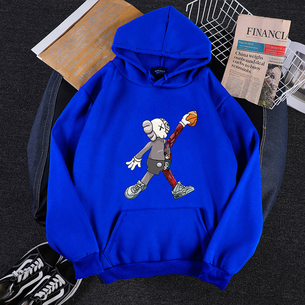 KAWS Men Women Cartoon Hoodie Sweatshirt Walking Doll Thicken Autumn Winter Loose Pullover Blue_XXL
