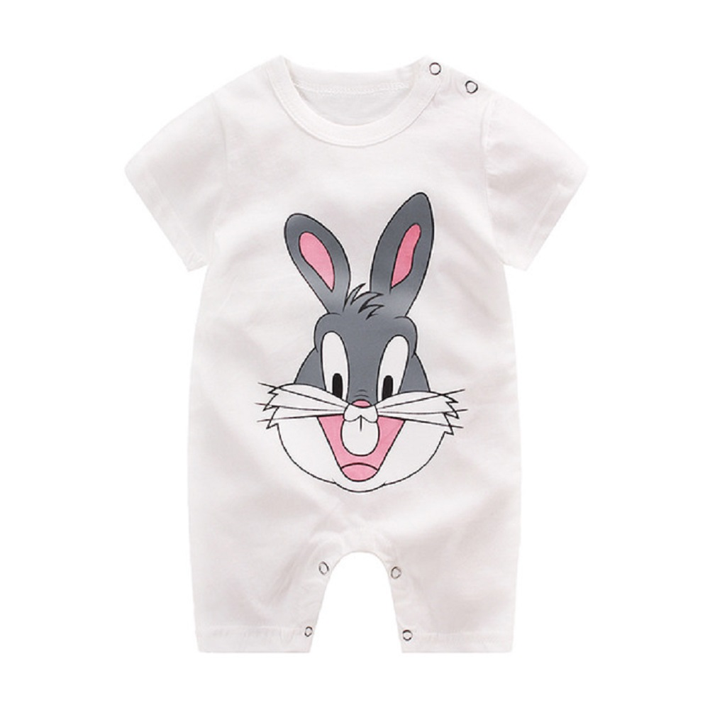 Newborn Infant Baby Boy Girl Cartoon Printing Short Sleeve Romper Bodysuit  White Rabbit_80cm