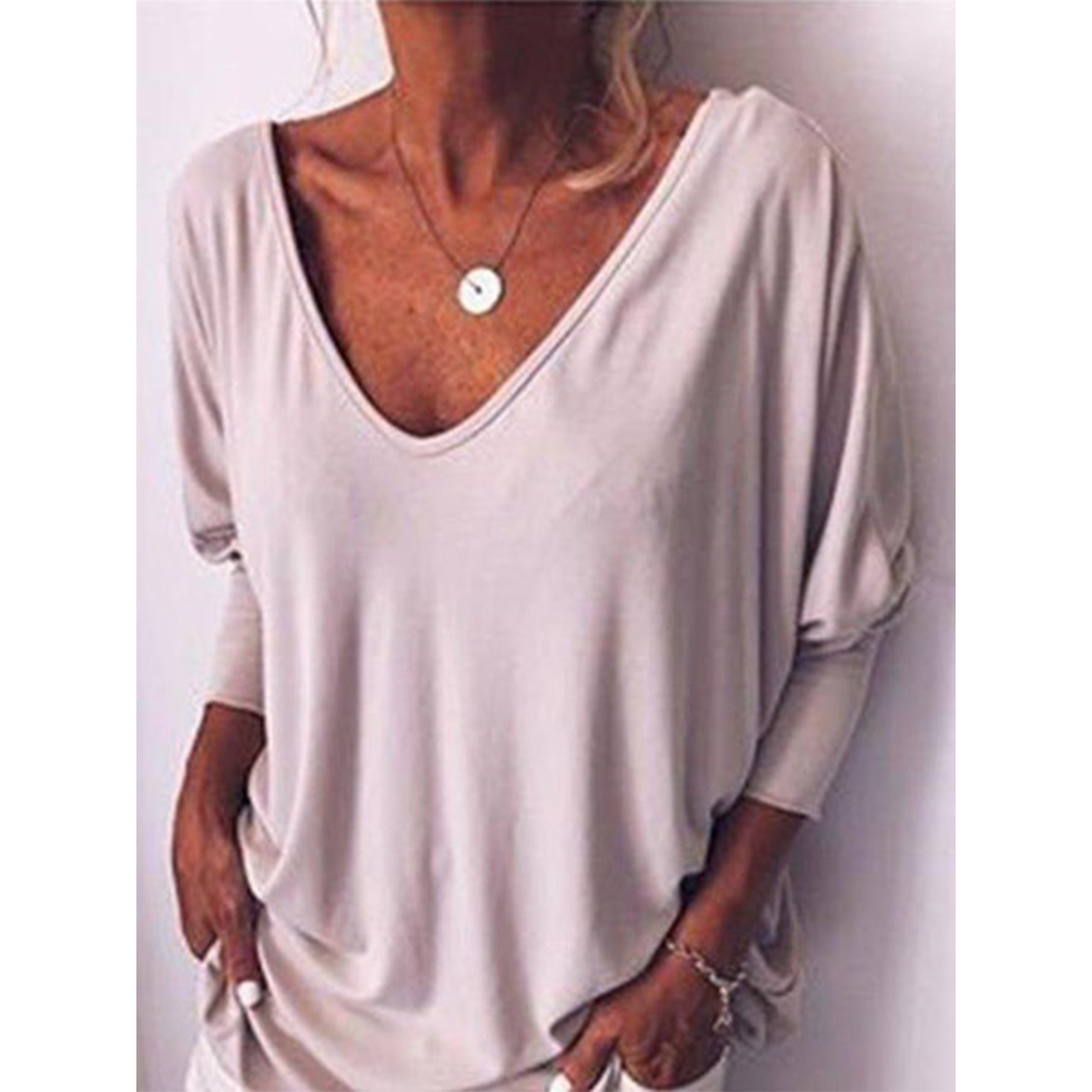 Women Summer Loose-sleeve V-collar T-shirt with Back Button white_M