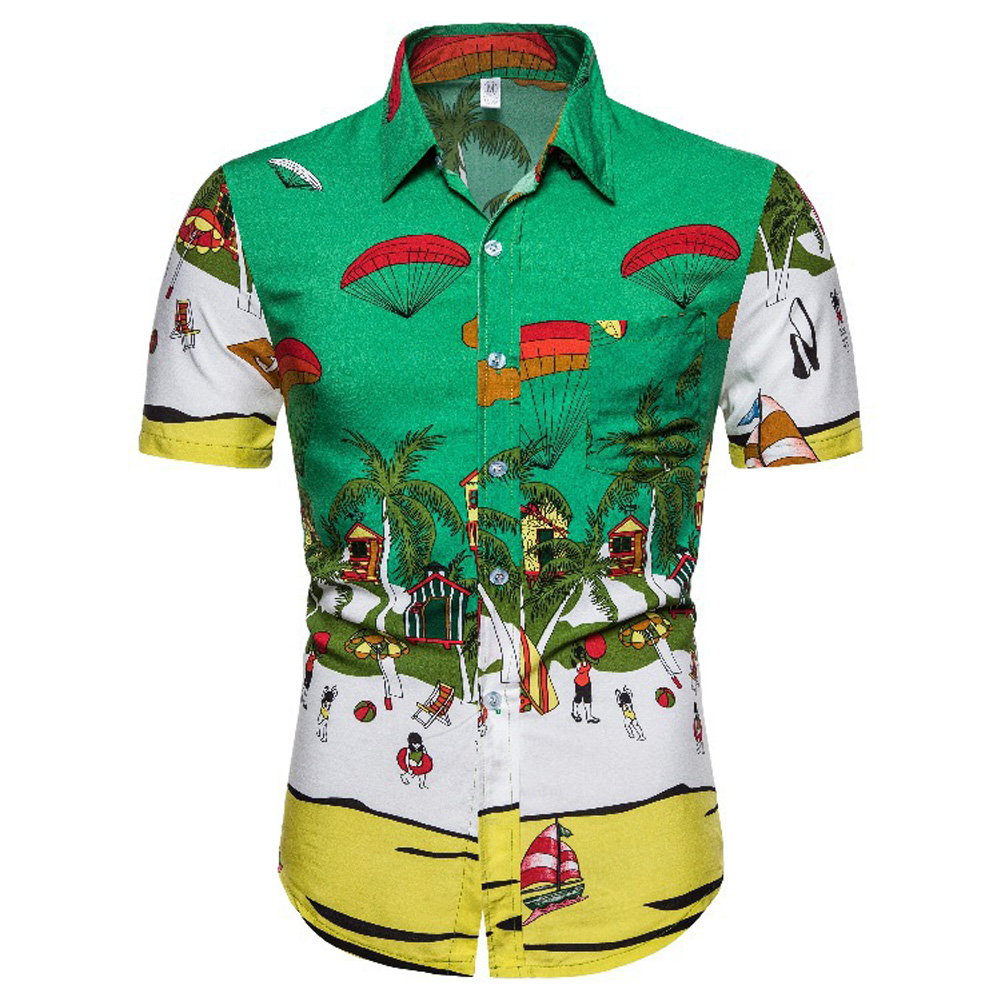 Men Casual Breathable Fashion Hawaiian Floral Short Sleeve Lapel Shirt Tops CS164_XL