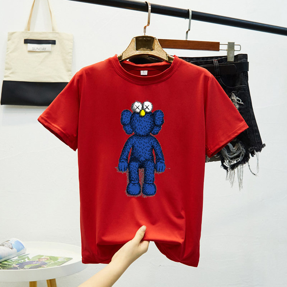 Boy Girl KAWS T-shirt Cartoon Sitting Doll Crew Neck Loose Couple Student Pullover Tops Red_L