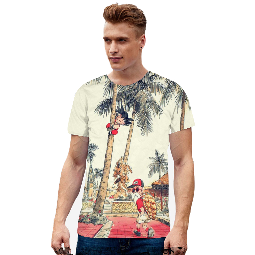 Men 3D Cartoon Figure Pattern Short Sleeve T-shirt white_XL