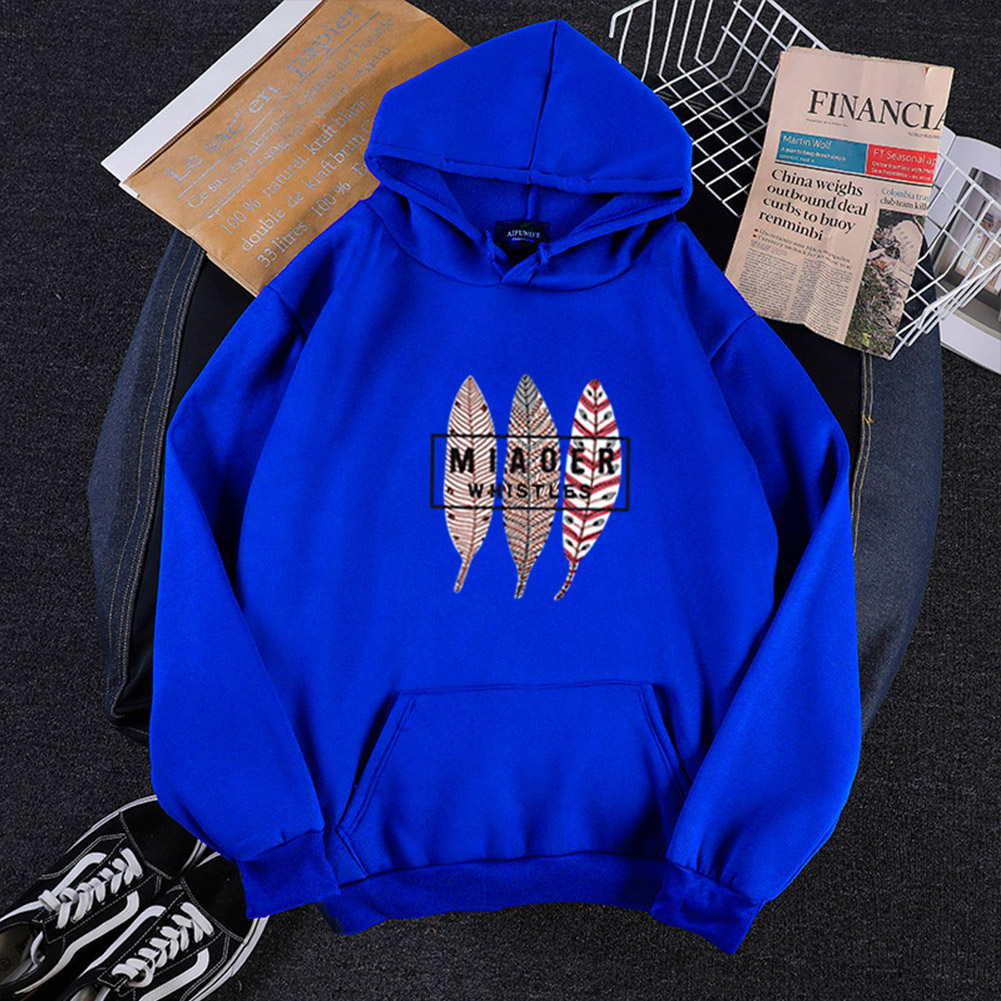 Men Women Hoodies Oversize Sweatshirt Loose Thicken Velvet Autumn Winter Pullover Blue_M