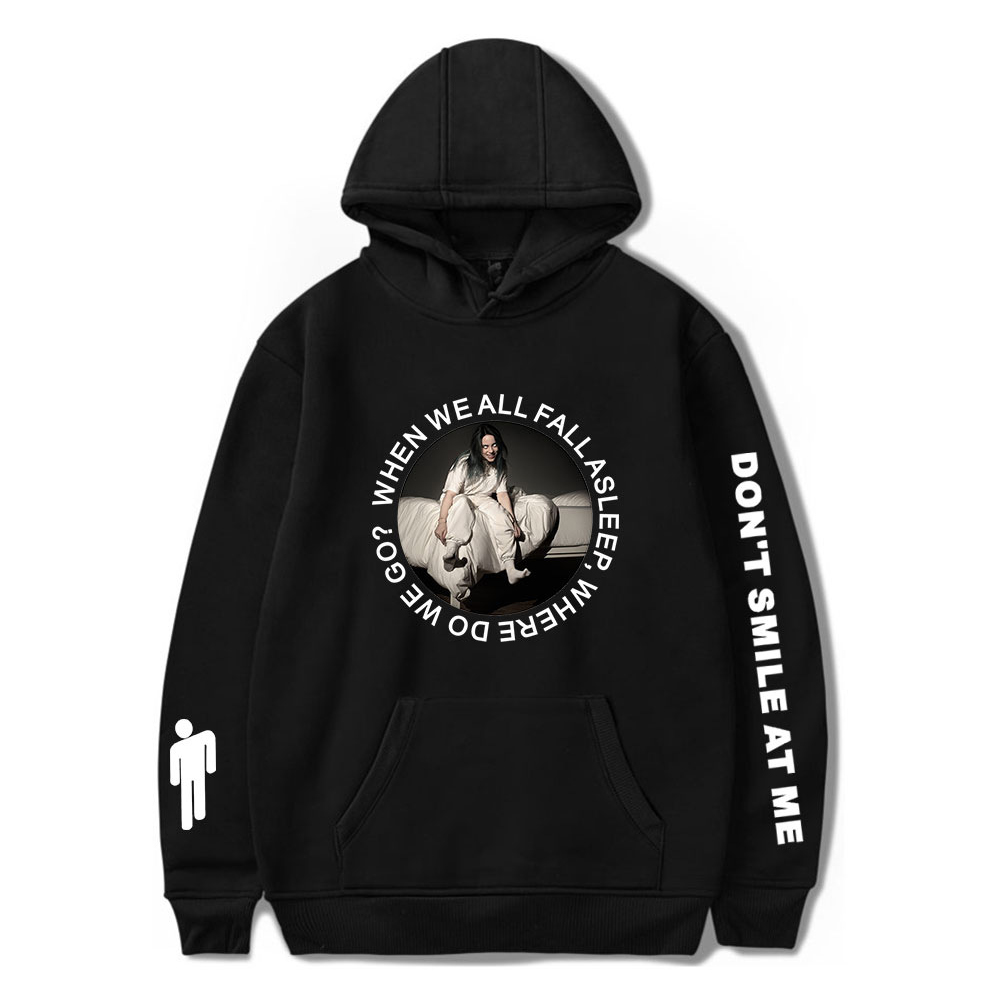 Stylish Casual Cartoon Pattern Printing Billie Eilish Hoodie Sweatshirt for Men Women  A black_L