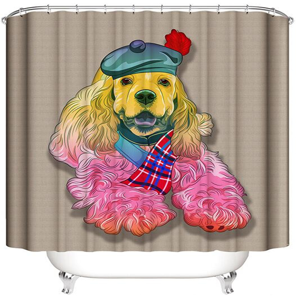 3d Digital Printing Shower  Curtain Funny Dog Pattern Showering Bathtub Waterproof Home Bath Decor Curtain 180*180cm