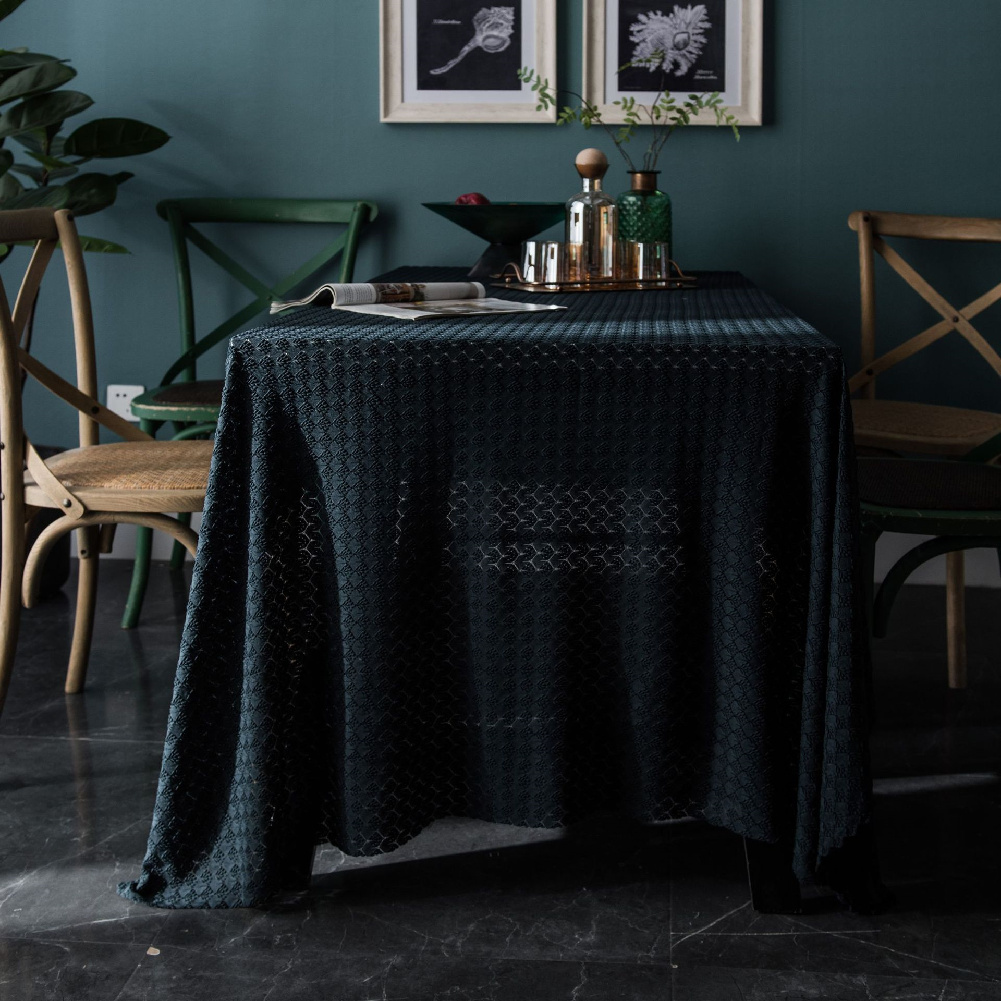 Retro Jacquard Lace Tablecloth Home Table Cover For Home Party Holiday Resturant Navy_100*150cm