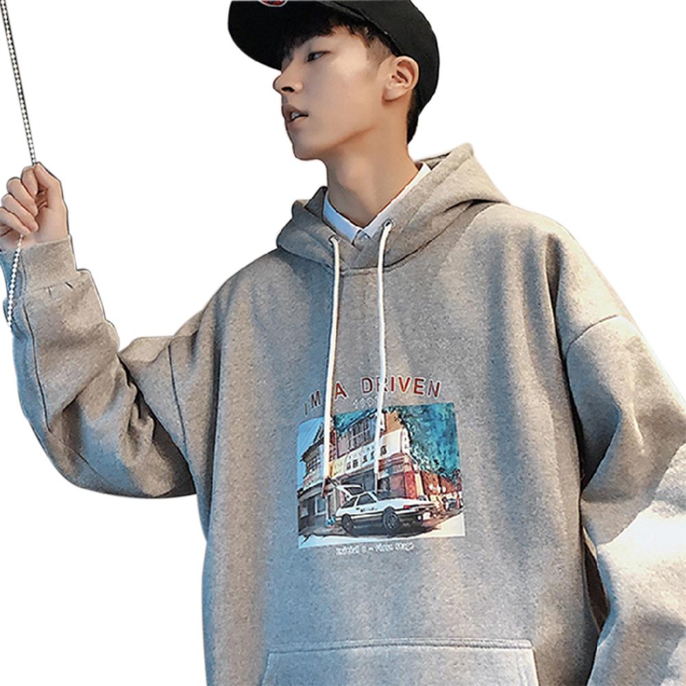 Men Women Hoodie Sweatshirt Printing Letter Car Spring Autumn Loose Pullover Tops Light gray_XL