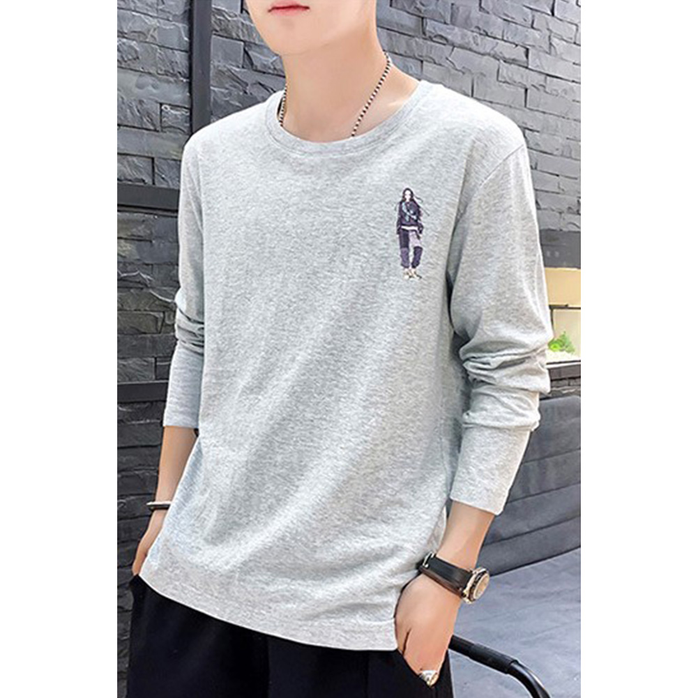Male Casual Shirt of Long Sleeves and Round Neck Slim Top Pullover with Cartoon Pattern Decorated gray_XXXL