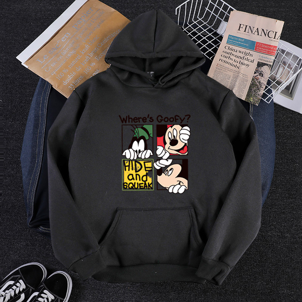 Men Women Cartoon Hoodie Sweatshirt Micky Mouse Thicken Autumn Winter Loose Pullover Black_L