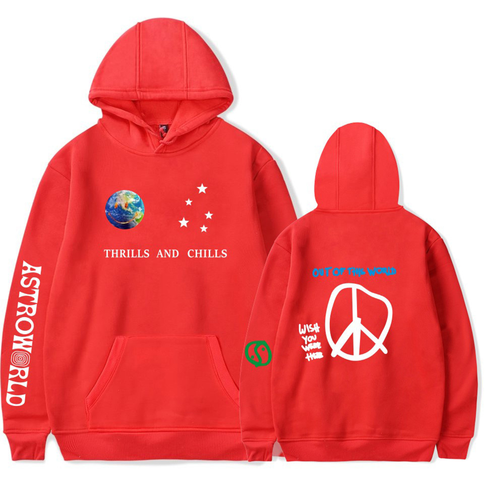 Travis Scotts ASTROWORLD Long Sleeve Printing Hoodie Casual Loose Tops Hooded Sweater E red_2XL