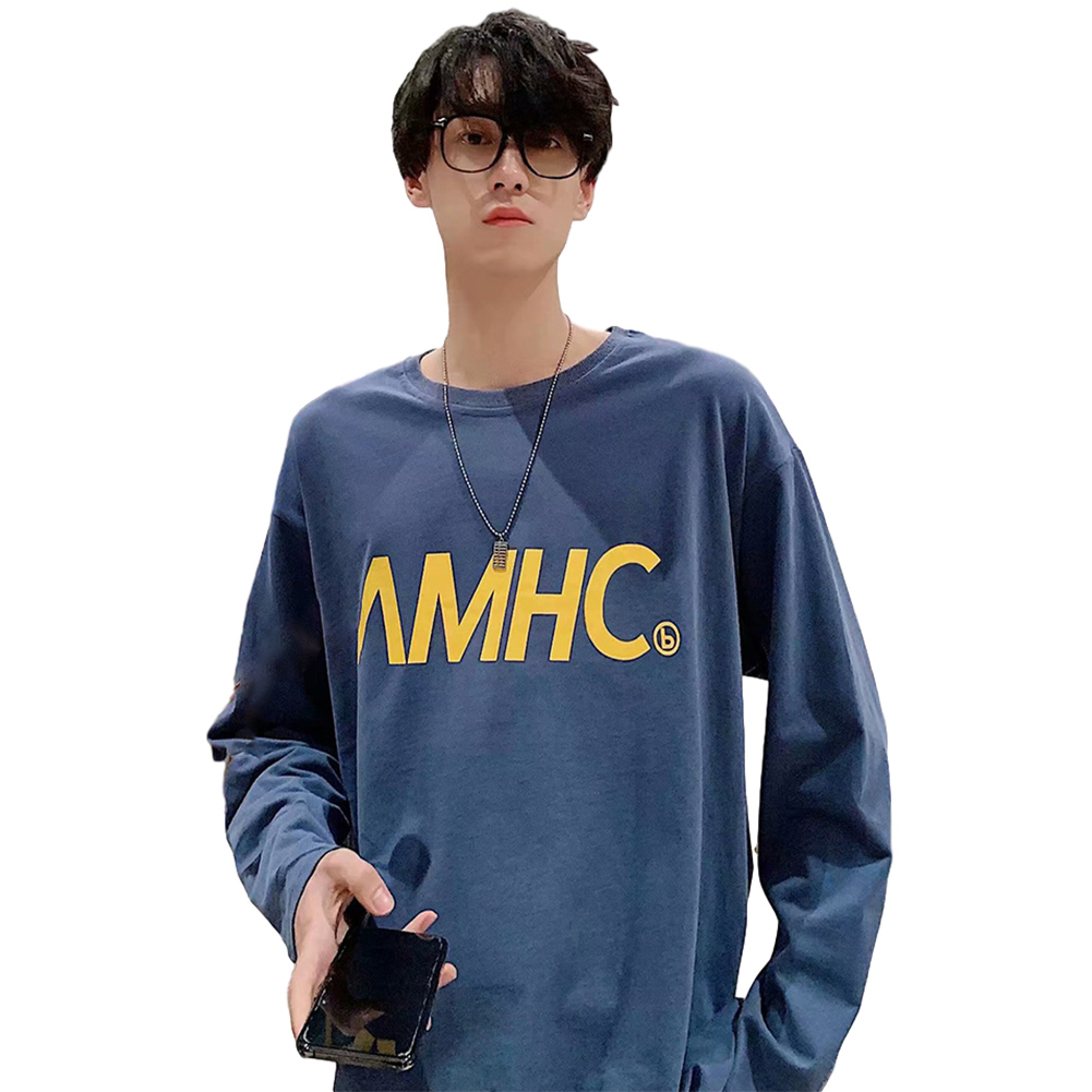 Men's T-shirt Spring and Autumn Long-sleeve Letter Printing Crew- Neck All-match Bottoming Shirt Blue_XXL