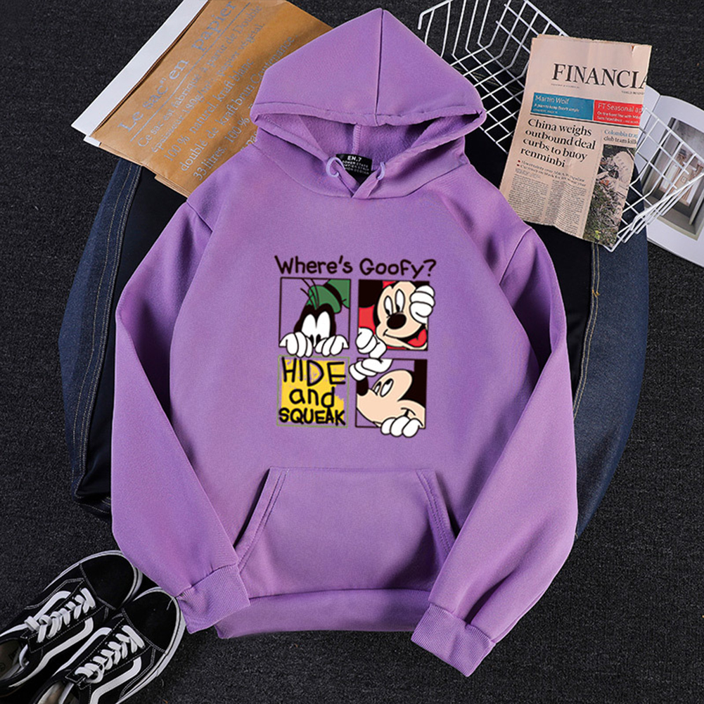 Men Women Hoodie Sweatshirt Micky Mouse Cartoon Thicken Autumn Winter Loose Pullover Purple_L