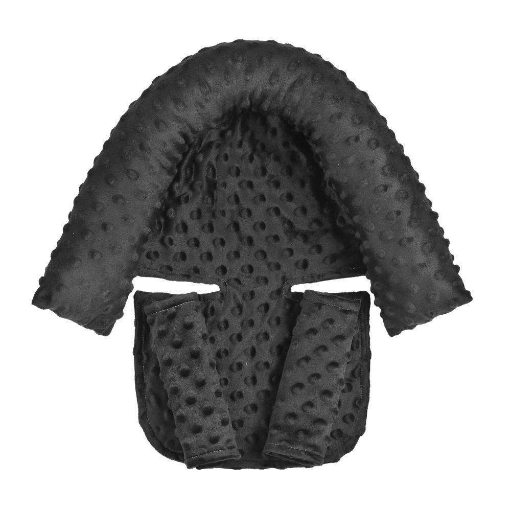 2Pcs/Set Baby Safety Seat Headrest + Safety Belt Cover Set for Infants black