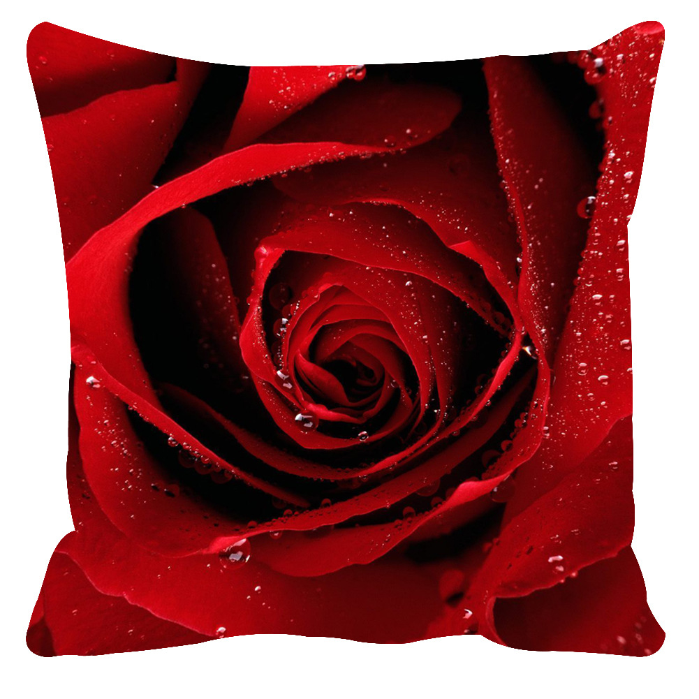 Soft Rose Printing Cushion Cover Pillow Cover Throw Case for Home Sofa Car Decoration(No Pillow Inner) Waterdrop rose_45*45cm