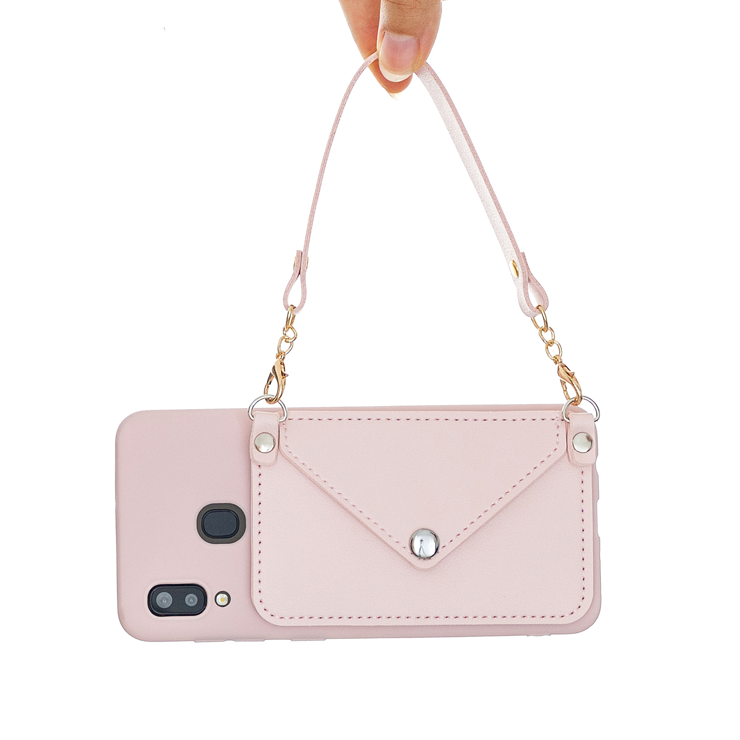 For HUAWEI Y5 2018/2019/Y6 2019/Y7 2019/PSMART Z/Y9 2019 Mobile Phone Cover with Pu Card Holder + Hand Rope + Straddle Rope Pink