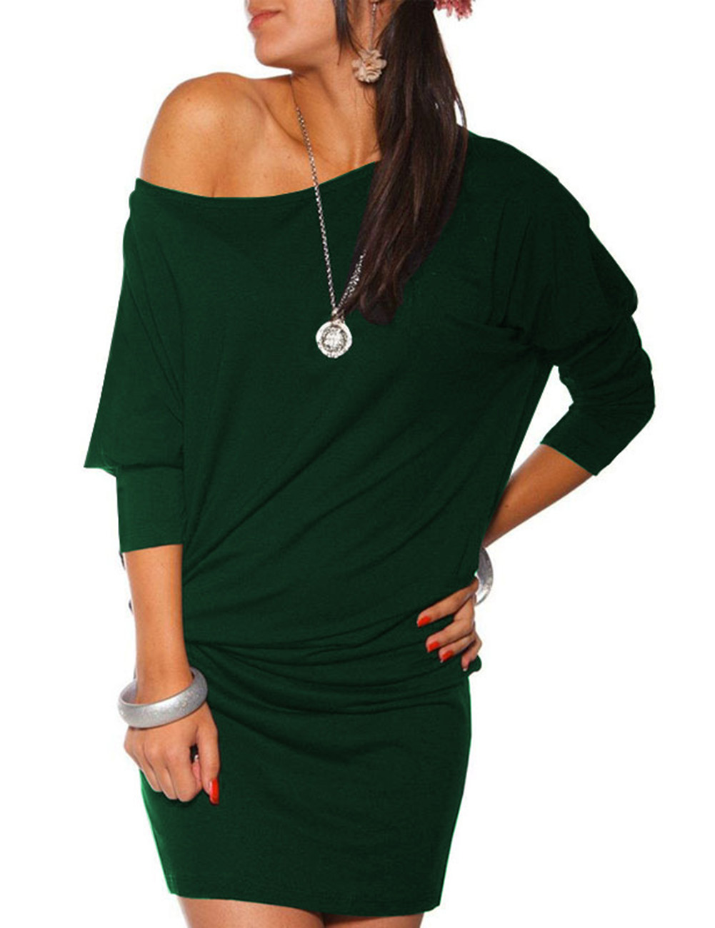Women's Sexy Casual Round Neck Wrap Hip Irregular One Off Shoulder Knit Pencil Dress