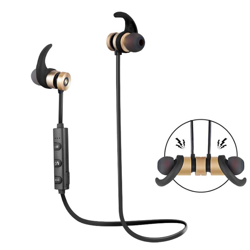 Neckband Sports Earphone Auriculare CSR Bluetooth for All Phone Wireless Bluetooth Earphone Gold
