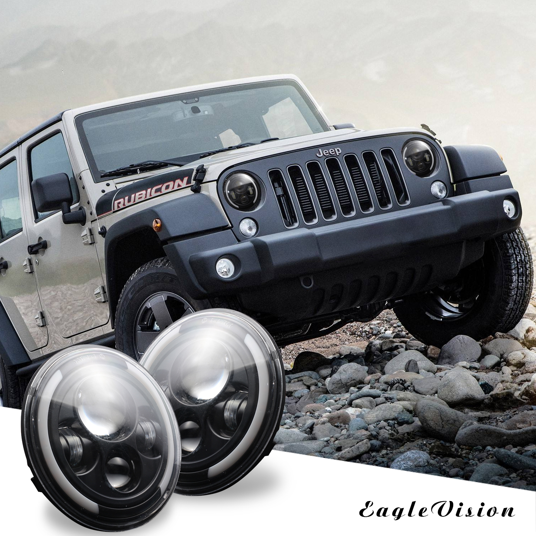 2 pcs 7 Inch 200W 4300K 6000K LED Headlight for Jeep Wrangler CJ JK TJ LJ 6000K white light